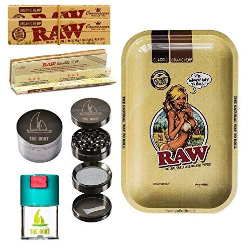 Kit para fumar RAW bandeja para liar Raw Girl pequeña 27,5cm x 17,5cm + RAW Organic Connoisseur Kings Size (3 unidades) + Bote hermético antiolor + Grinder THE BOAT 4 partes con rascador.