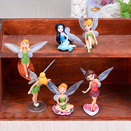 6Pcs Flower Fairy Pixie Fly Wing Family Miniature Flower Fairy Girls Dollhouse Garden Ornament Accessories