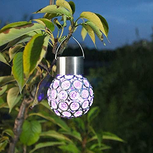 XLLQYY Linterna solar jardín al aire libre patio trasero terraza tsh tienda solar led lámpara colgante linterna impermeable bola bola lampSolar jardín luz