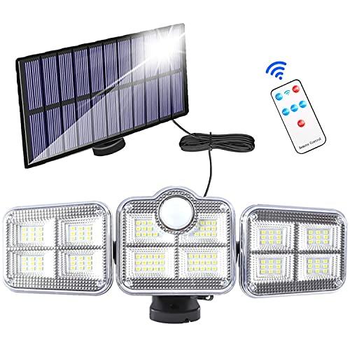 Luz Solar Exterior, luces con sensor de movimiento, Luces Solar Exterior con control remoto, iluminación de 270 ° de ancho, cable de 5 m, IP65 a prueba de agua, luces de seguridad solar para Jardín