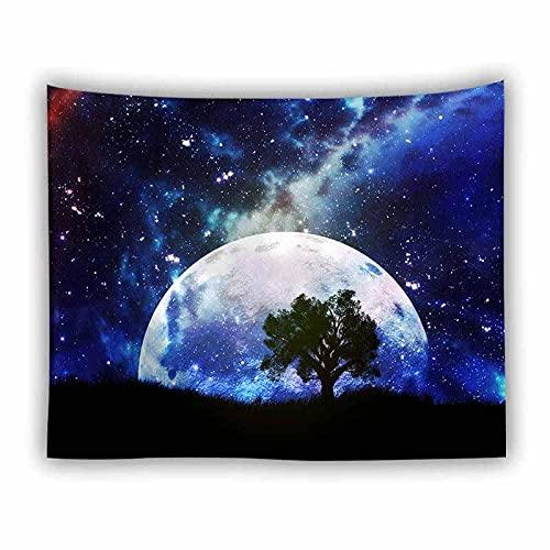 Tapiz psicodélico para colgar en la pared universo cielo estrellado luna hippie tapiz hippie revestimiento de pared decoración tapiz manta A5 100x150cm
