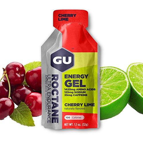 GU Energy Gel Energizante de Cereza y Lima - Paquete de 24 x 32 gr - Total: 768 gr