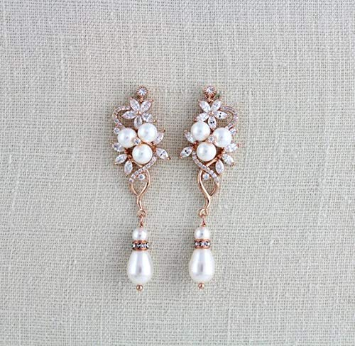 Rose Bridal Earrings White Flower With Pearl Earrings,Flower Earrings Flower With Pearl Earrings,Flower Drop Earrings