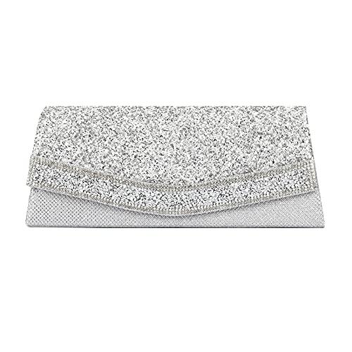 MEGAUK Damen Clutch Glitzer Elegant Abendtasche Glänzend Handtasche Envelope Tasche Strass Unterarmtasche mit Kette für Hochzeit Wedding Prom Party