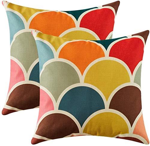 """JBHOO Fundas de Almohada de algodón Amortiguador de la Almohadilla geometría de la Cubierta del sofá en casa mobiliario para el sillón de la Sala, Escritorio,2pack Escalas,20""""x 20"""""""