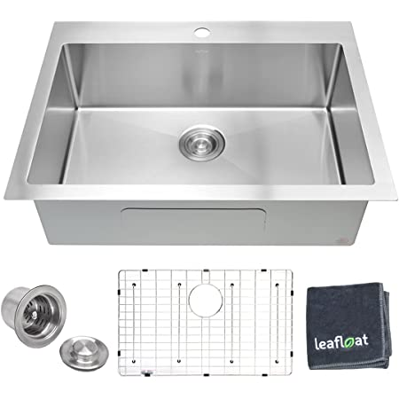 """leafloat Topmount Kitchen Sink 30 Inch, 30""""x22""""x9"""", Single Bowl, 16 Gauge T304 Stainless Steel, Satin Finish, with Strainer & Bottom Grid, cUPC listed"""