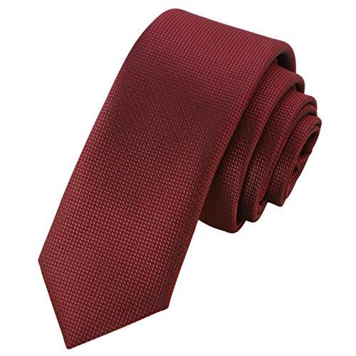 GASSANI Corbata de rejilla estrecha y extra larga de 6 cm, estructurada. rojo burdeos y vino, color rojo vino. Small