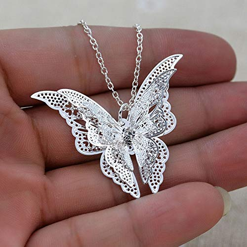 JESMING Silver Lovely Butterfly Pendant Necklace Jewelry for Women Girls Kids, Pendant Chain Necklace 20+2 inch Women Jewelry