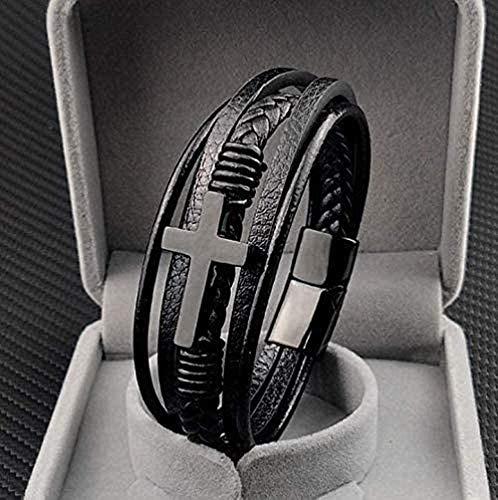 WESD Faith Luxus Kreuz Design Edelstahl für Herren Lederarmband Weihnachten Leder Kreuz Armband für Männer christliche religiöse Konfirmation Geschenke mit Edelstahl schwarz