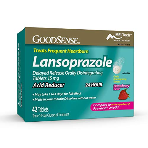 GoodSense Lansoprazole Delayed Release Orally Disintegrating Tablets 15 mg, Acid Reducer, Strawberry