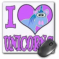 3drose LLC 8x 8x 0.25インチI Heart Love Unicorns漫画マウスパッド(MP 102157_ 1)