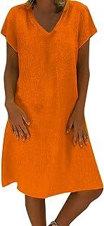 riou Mujer, Vestido de Lino de Verano de Las Mujer Cuello Redondo de Color sólido Simple de Gran tamaño y Manga Corta Vestir Blusa Tops Casual Sudadera Primavera Otoño Elegantes Familia Vestidos riou