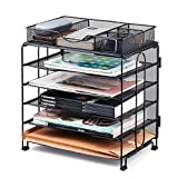 KEEGH Paper Organizer Tray,5 Tier Mesh Desk File Organizer with Extra Drawer | Screws Free Design