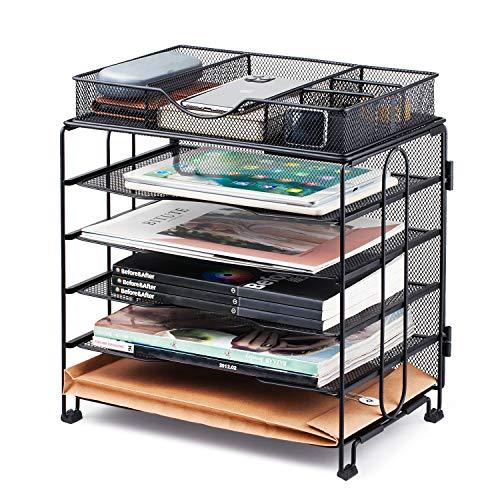 KEEGH Briefablage Metall Stapelbar, 5-Ablagefächer Stapelbar mit Schublade, Dokumentenablage für Dateien, Ordner, Briefe, Papier
