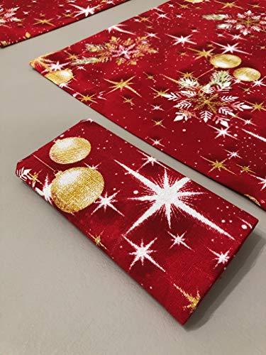 1KDreams Set 4 tovaglioli Natale. Sfondo Rosso Palline Stelle e Foglie Oro. Design Classico in Chiave Moderna. (Set 4 40x40 cm)