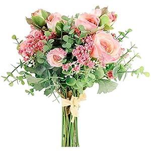 Silk Flower Arrangements PQZATX Artificial Flowers Silk Peony Roses with Baby's Breath Eucalyptus Leaves Wedding Bouquets 2 Bundles Realistic (Pink)