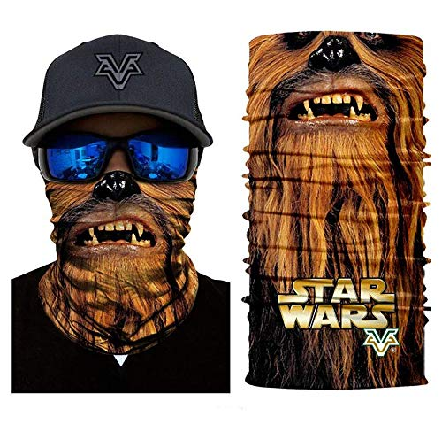 3D Chewbacca Face Tube Neck Face Scarf Lower Half Face Mask Motorcycle Bicycle Shield Sun Air Soft Outdoor Biker Riding Masks No.82