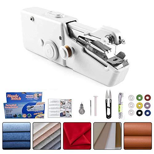 Gkodeamig Handnähmaschine Mini Handheld Nähmaschine,Tragbar Elektrische Hand-Nähmaschine für Anfänger, leichte batteriebetriebene kleine tragbare Mini-Nähmaschine für schnelle handliche Nähkleidung