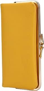 Women Wallet PU Leather Slim Long Designer Metal Frame Kiss-Lock Clutch Cards Holder Wallet