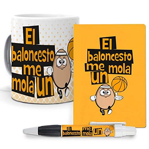 Pack Original y Personalizado para Regalo, Ideal para Hobby. El Baloncesto me Mola un Huevo. Libreta, boligrafo y Taza Maxima Calidad.