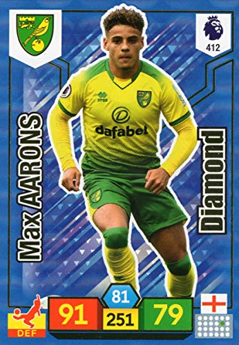 Adrenalyn XL PREMIER LEAGUE 2019/20 MAX AARONS DIAMOND TRADING CARD - NORWICH CITY