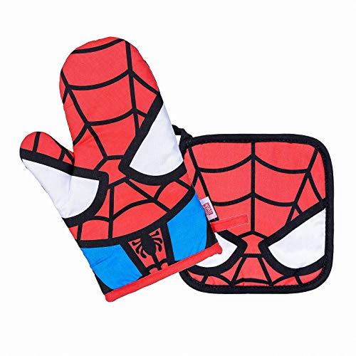 MINISO Marvel Oven Mitt and Potholder Set, Heat Resistant Non-Slip Kitchen Mitten Cooking Glove for Hand Protection - Spider Man
