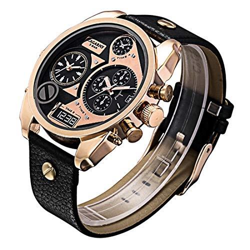 Para los relojes Ssl CAGARNY 6822 Concise Style de moda del dial grande del reloj dual Rose Caso del movimiento del cuarzo del oro con la banda de cuero y GMT Hora y Funciones de calendario for los ho