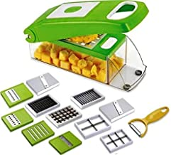 RYLAN Multi-Purpose Plastic Vegetable and Fruits Grater, Chipser Chopper, Slicer, Cutter and Dicer with 11 Stainless Steel Blades and 1 Pillar, Vegetable Chopper for Kitchen (Green)
