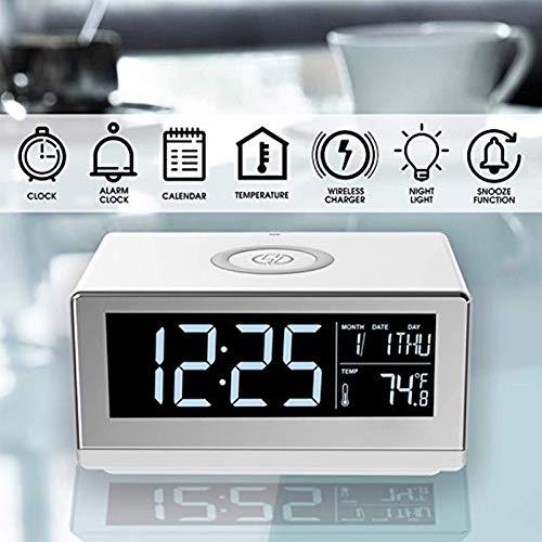 QYRL mobiele telefoon draadloze oplaadindicator QI standaard met wekkersnooze tijdsweergave en nachtlampje voor reizen toepassingen op kantoor