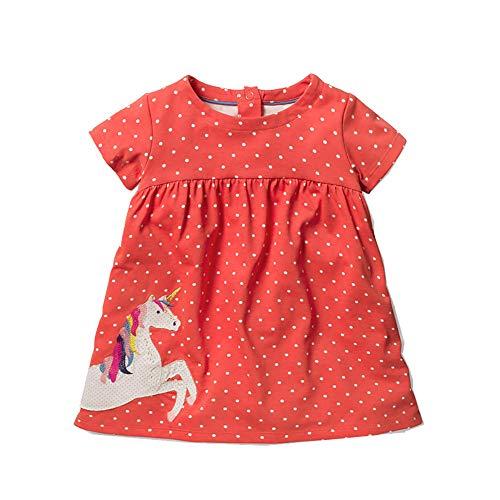 MOLYHUA Marienkäfer Kleider für Mädchen Nachthemd Kinder Prinzessin Kurzarm Schlafanzug Nachtwäsche Nightdress Sleepwear für 2-7 Jahre