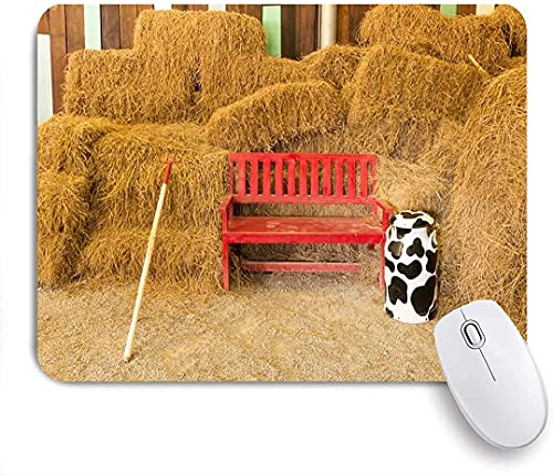 Gaming Mouse Pads, Antiguo Granero Herramienta de Granja Rústica Rake Silla Roja Silla Paja Paja Paja Bala Vintage Rayas de madera Tablón Botella de vaca, Base de goma antideslizante Materias de ratón