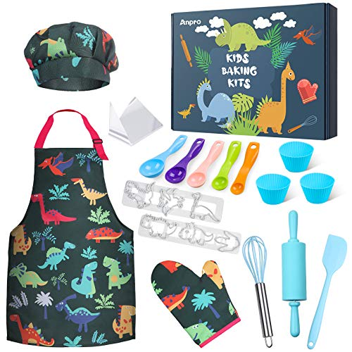 Anpro Complete Kids Cooking and Baking Set - 27 Pcs Includes Aprons for Girls, Chef Hat, Mitt & Utensil to Dress Up Chef Costume Career Role Play for 3-7 Years Boys