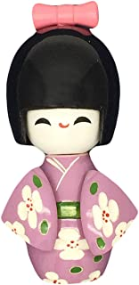 COMOK Purple Japanese Floral Kimono Sweet Smiling Girl Wooden Kokeshi Doll Toy for House & Office Decoration Handicraft Ornaments, 3.54