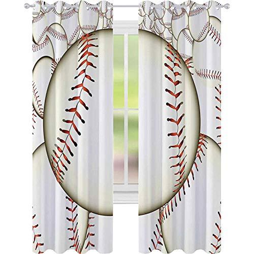 Genomföring mörkläggningsgardiner, mönster av basebollbollar bakgrund hem springa spelregler framgång poäng tryck, B 52 x L 72 mörkläggning gardin för barns sovrum, krämröd