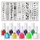 BORN PRETTY Nail Art Stamping Polish Kit Fluorescent Neon Stamping Polish 10Colors Bright Summer Colors Nail Polish with 8PCS Image Stamp Plate Stamping Templates Polish DIY Nail Art Design Set