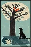 Juniqe® Hunde Eichhörnchen Poster im Kunststoffrahmen