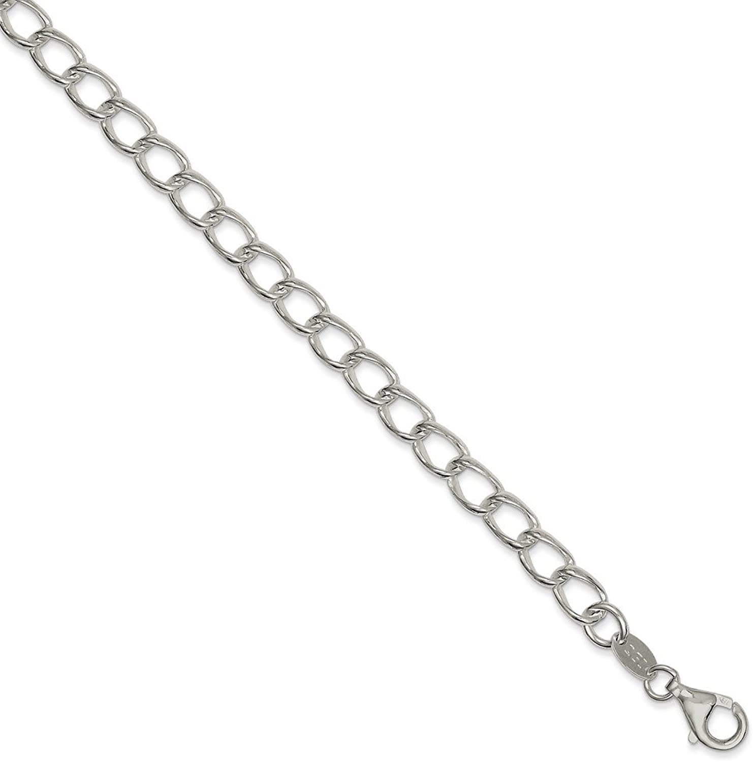 Beautiful Sterling silver 925 sterling Sterling Silver Rhodium Plated Half round Wire Curb Chain
