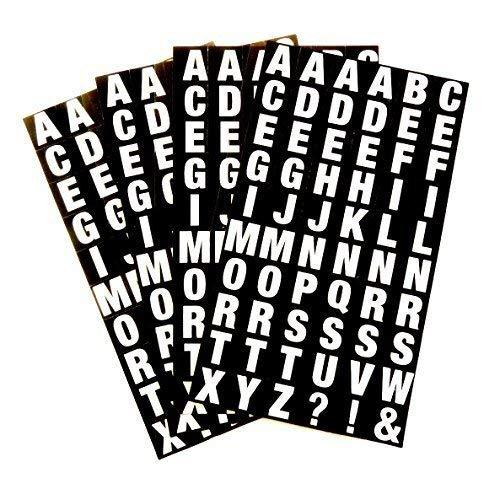 Klein Alphabet A-Z Sticker, Weiß Buchstaben auf Schwarz 10mm (0.4 Zoll) Square Klebeetiketten