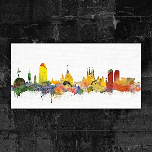 Hermano artificial – Barcelona Skyline – Light (varios Grössen) 3D - Lienzo decorativo (4 cm, 70 x 140 cm)