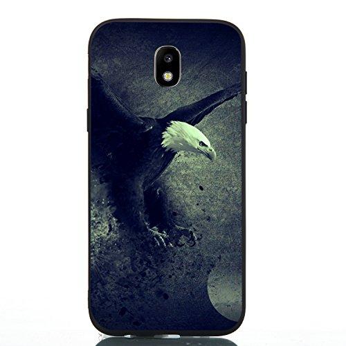 HopMore Silicone Coque pour Samsung Galaxy J5 2017 Noir Étui Motif Drôle Créatif TPU Souple Etui Samsung J5 2017 Antichoc Protection Ultra Mince Case Housse Fine pour Fille Femme Homme - Aigle
