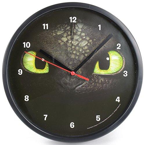 Dreamworks Dragons Ohnezahn Toothless Wanduhr 21,5 cm, schwarz