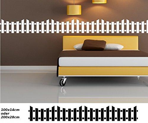 Wandtattoo selbstklebend Bordüre Zaun Set Borte Banner Wandaufkleber Aufkleber Wohnzimmer Garten Lattenzaun 1U081, Farbe:Weiß Matt;Länge x Breite:200cm x 28cm