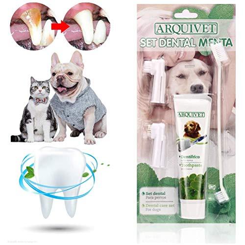Pet Dog - Pasta de dientes para el cuidado de los dientes, kit de cuidado dental para perros y gatos