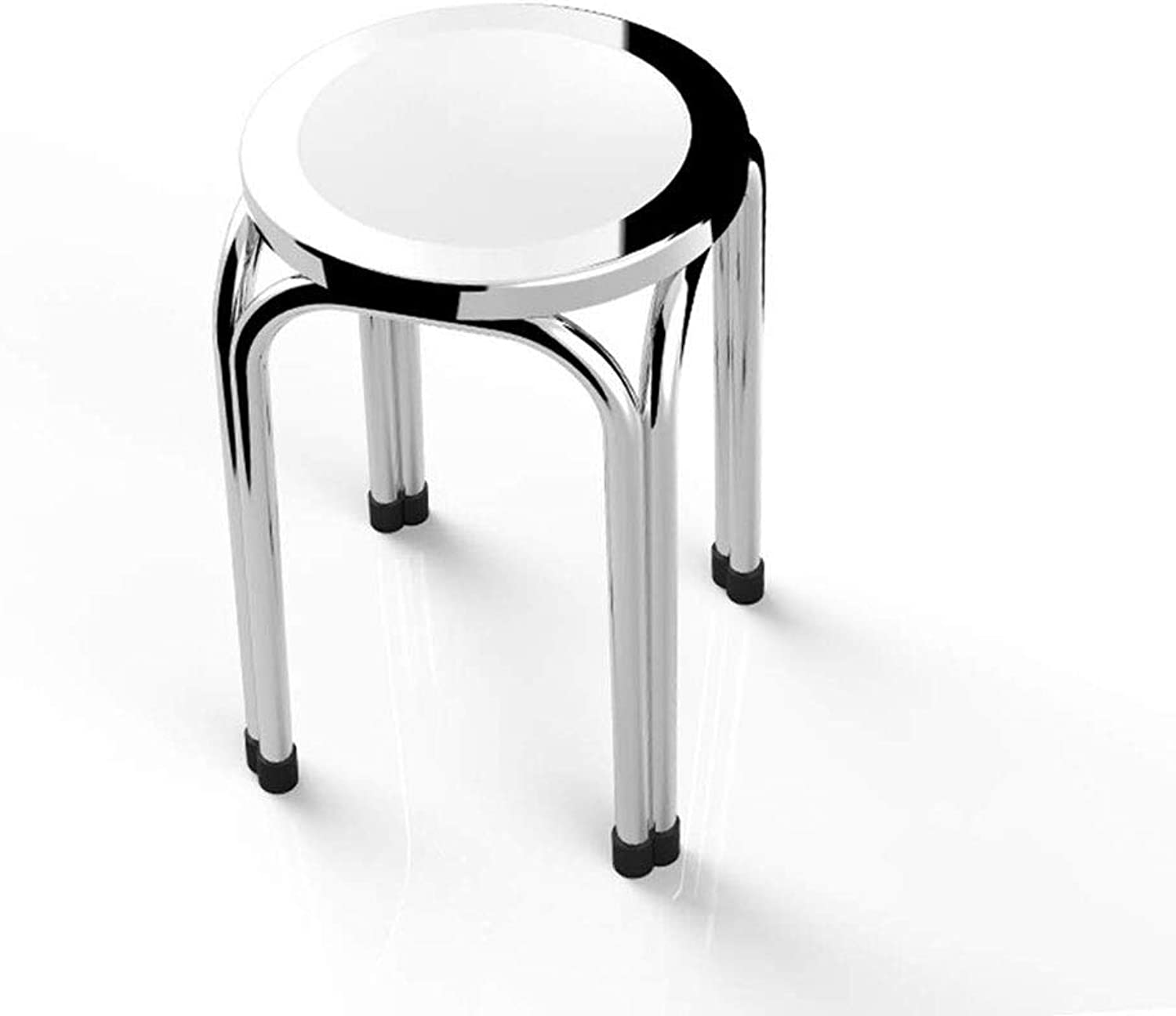 PTERS Stainless Steel Folding Stool Stool Table Stool Home Stool Round Dining Chair High Bench Experimental Bench Workshop Stool (Size   47cm)