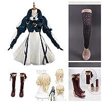 ヴァイオレット・エヴァーガーデン ヴァイオレット 風 Cosplay コスプレ コスプレ衣装+靴 +ウィッグ 全セット (女性XL)