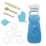 Hilai Chef Set für Kinder Küche Role Play Koch Kostüm blau mit Schürze Chef Hut Utensilien Kochen Mitt Kinder Backset