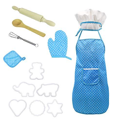 Moligin Hornear Niños Kit Chef De Cocina Conjunto De Niños Juegos De rol De Cook Traje Azul con El Delantal del Cocinero Sombrero Utensilios De Cocina Mitt Azul