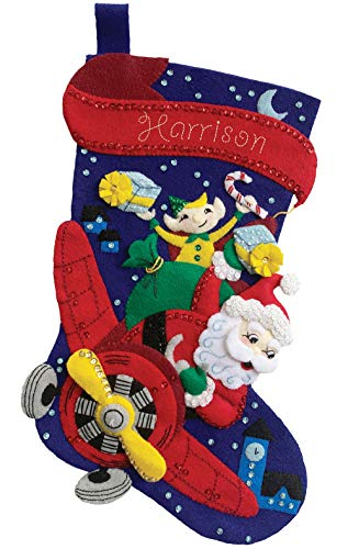 Santa Pilot 18' Felt Christmas Stocking Kit