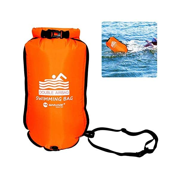 Ruiuzi Swim Buoy,Swim Bubble Highly Visible Safety Buoy Tow Float for Open Water Swimmers, Triathletes, Kayakers…