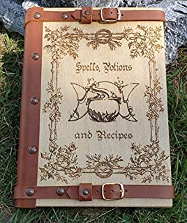 Spells Potions and Resipes Book, Album A4, 30x21 cm, Copertina in legno,